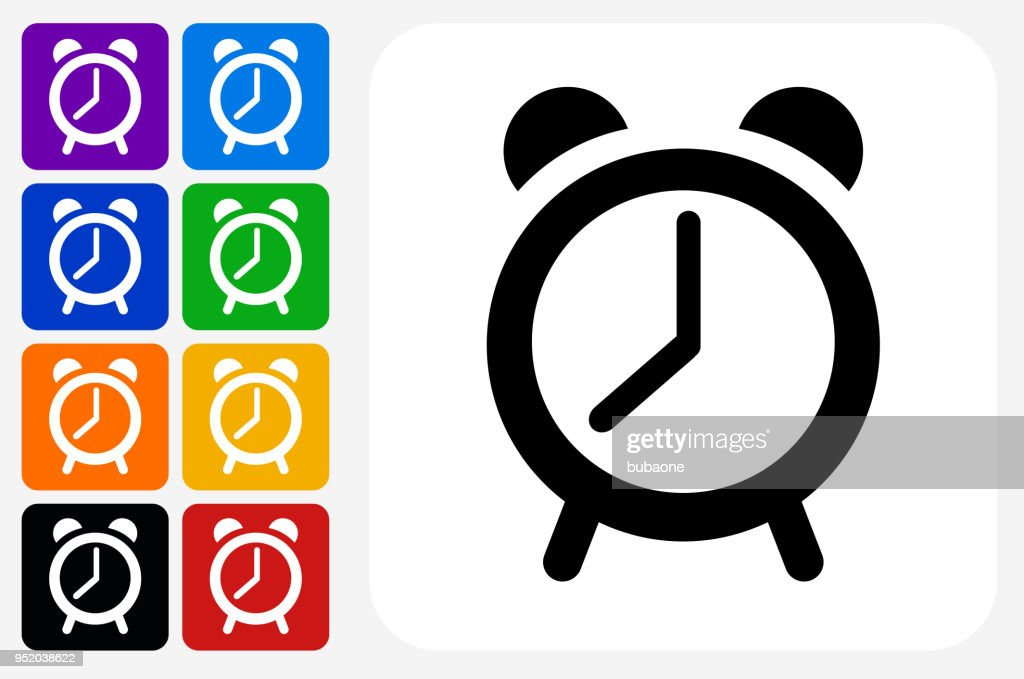 Alarm Clock Icon Square Button Set stock illustration - Getty Images