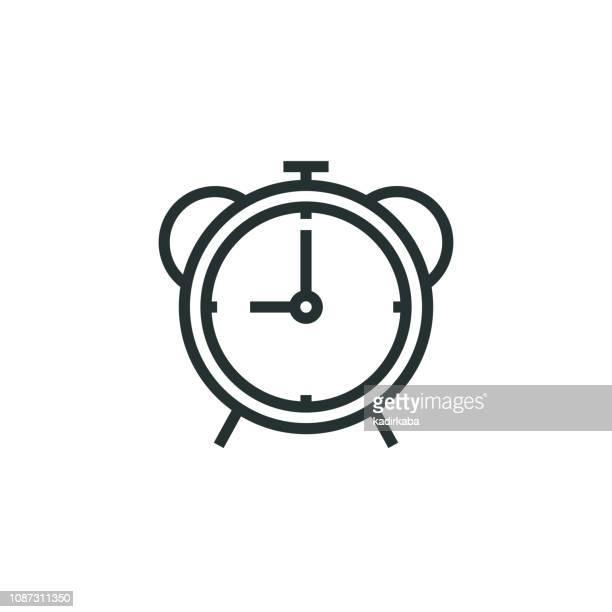 ilustrações, clipart, desenhos animados e ícones de ícone da linha de relógio despertador - prazo