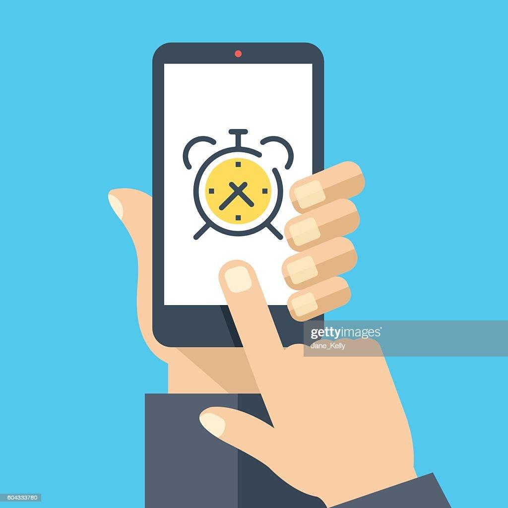 Alarm clock on smartphone screen. Wake up app. Flat illustration