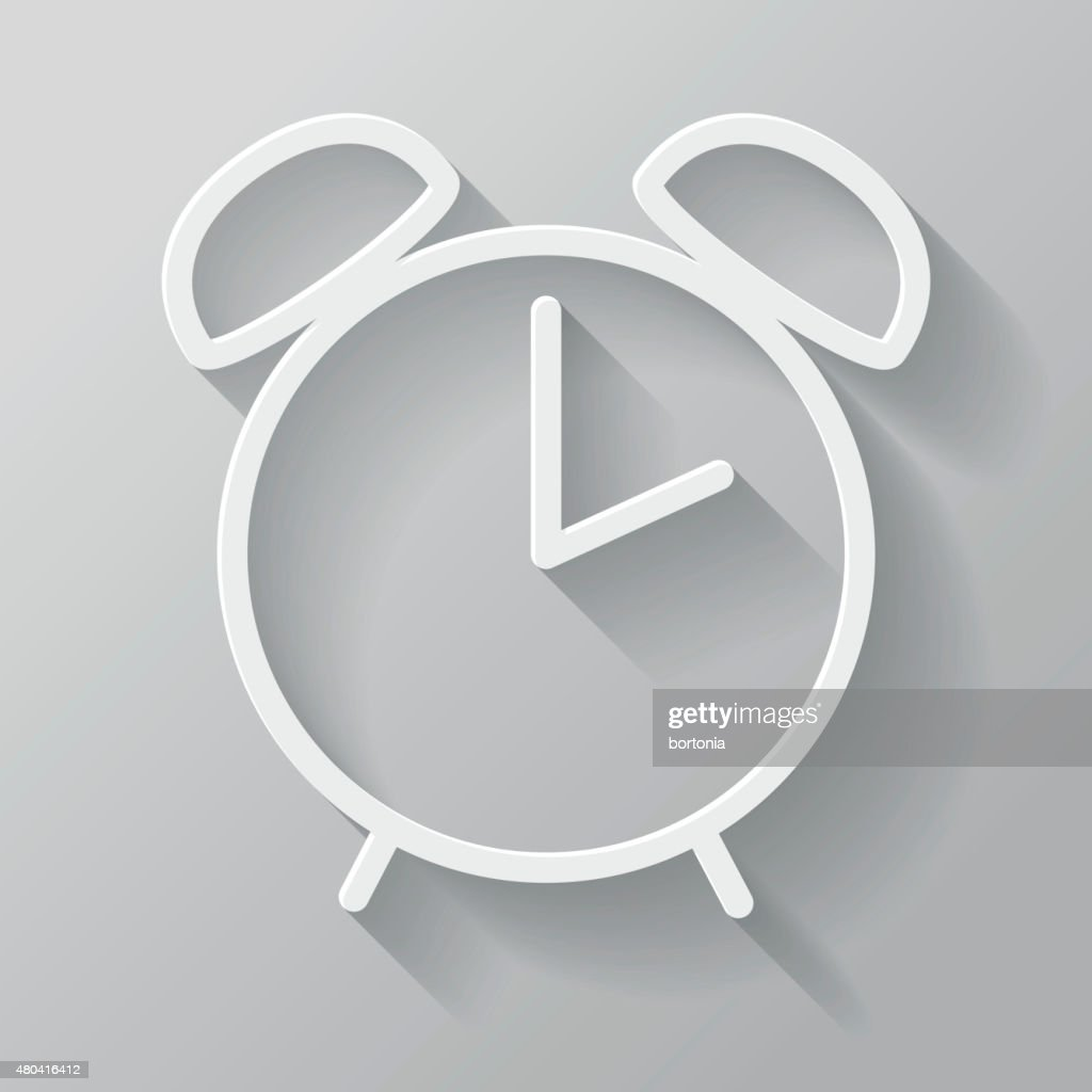 Alarm Clock Paper Thin Line Interface Icon With Long Shadow