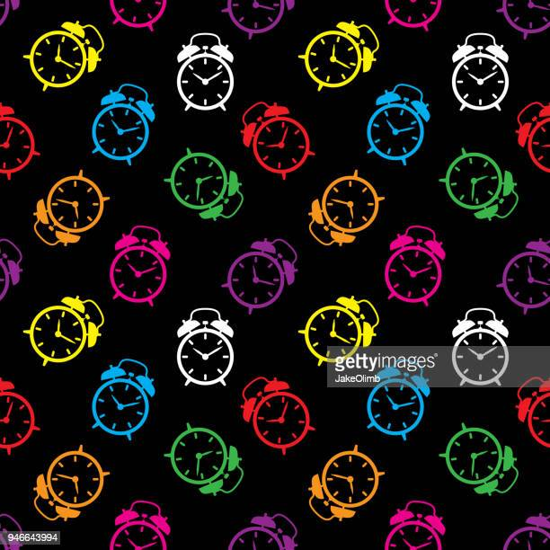 alarm clock pattern colorful - patience stock illustrations