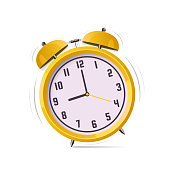 Alarm clock vector logo. Flat design illustration.