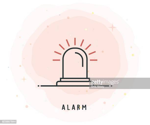 alarm icon with watercolor patch - blink stock illustrations, clip art, cartoons, & icons