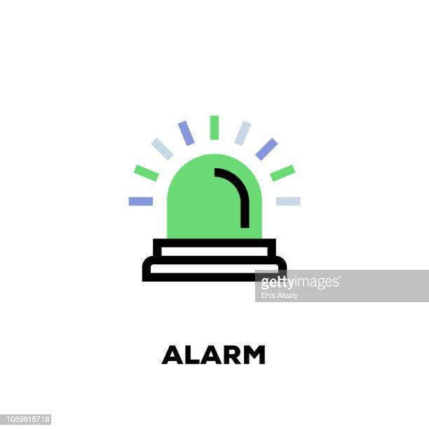alarm line icon - office safety stock illustrations, clip art, cartoons, & icons
