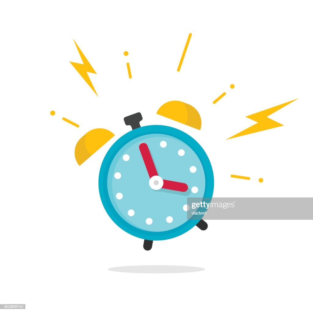 Alarm ringing icon vector illustration, flat carton alarm clock bells sound isolated on white background