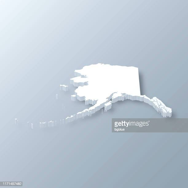 alaska 3d map on gray background - alaska us state stock illustrations