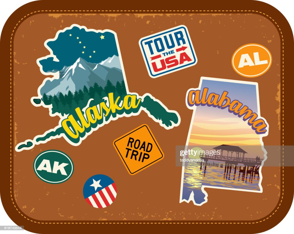 Alaska, Alabama travel stickers with scenic attractions and retro text on vintage suitcase background