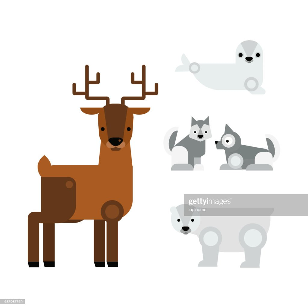 Alaska animals vector illustration.