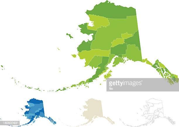 アラスカ郡と国勢調査エリアマップ - アラスカ点のイラスト素材/クリップアート素材/マンガ素材/アイコン素材