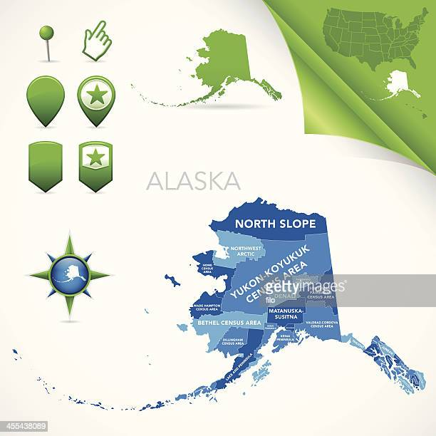 alaska county and census area map - alaska us state stock illustrations