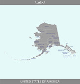 Alaska county map vector outline gray background. Counties map of Alaska state of USA in a creative design
