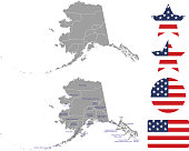 Alaska county map vector outline in gray background. Alaska state of USA map with counties names labeled and United States flag vector illustration designs