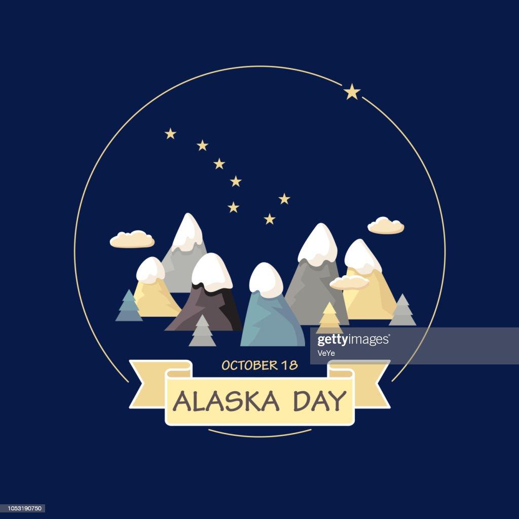 Alaska Day. Vector. Mountains, constellation Ursa Major.