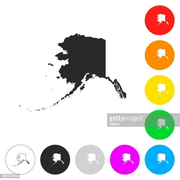 alaska map - flat icons on different color buttons - alaska us state stock illustrations