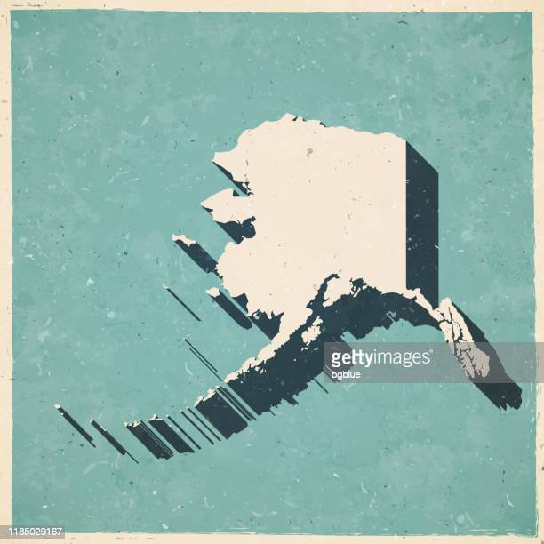 alaska map in retro vintage style - old textured paper - alaska us state stock illustrations