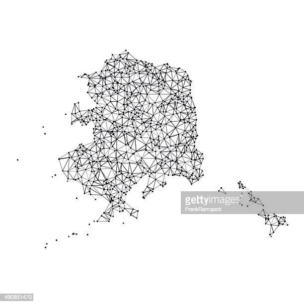 alaska map network black and white - alaska us state stock illustrations