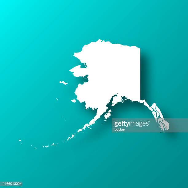 alaska map on blue green background with shadow - alaska us state stock illustrations