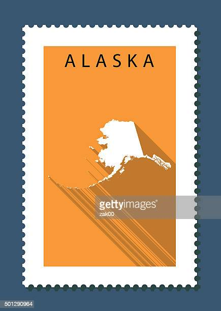 alaska map on orange background, long shadow, flat design,stamp - alaska us state stock illustrations