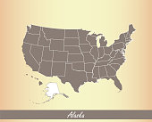 Alaska map vector outline illustration highlighted in USA map vector on an old paper brown background