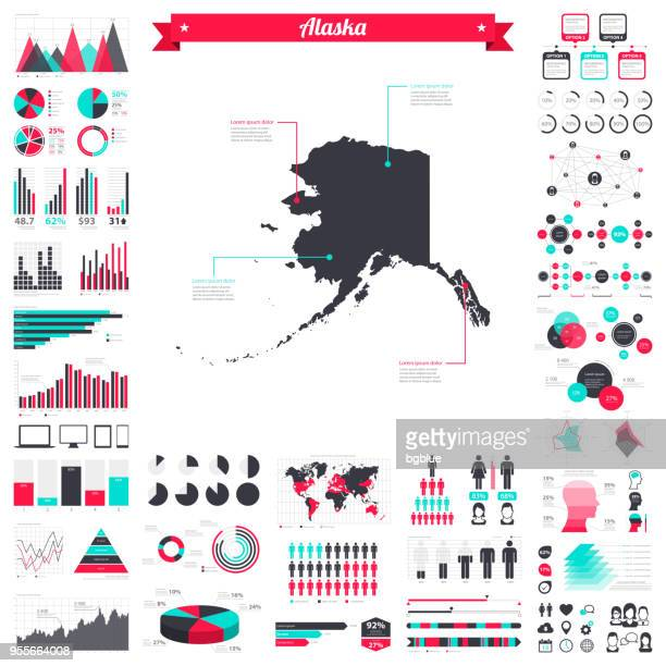 alaska map with infographic elements - big creative graphic set - alaska us state stock illustrations