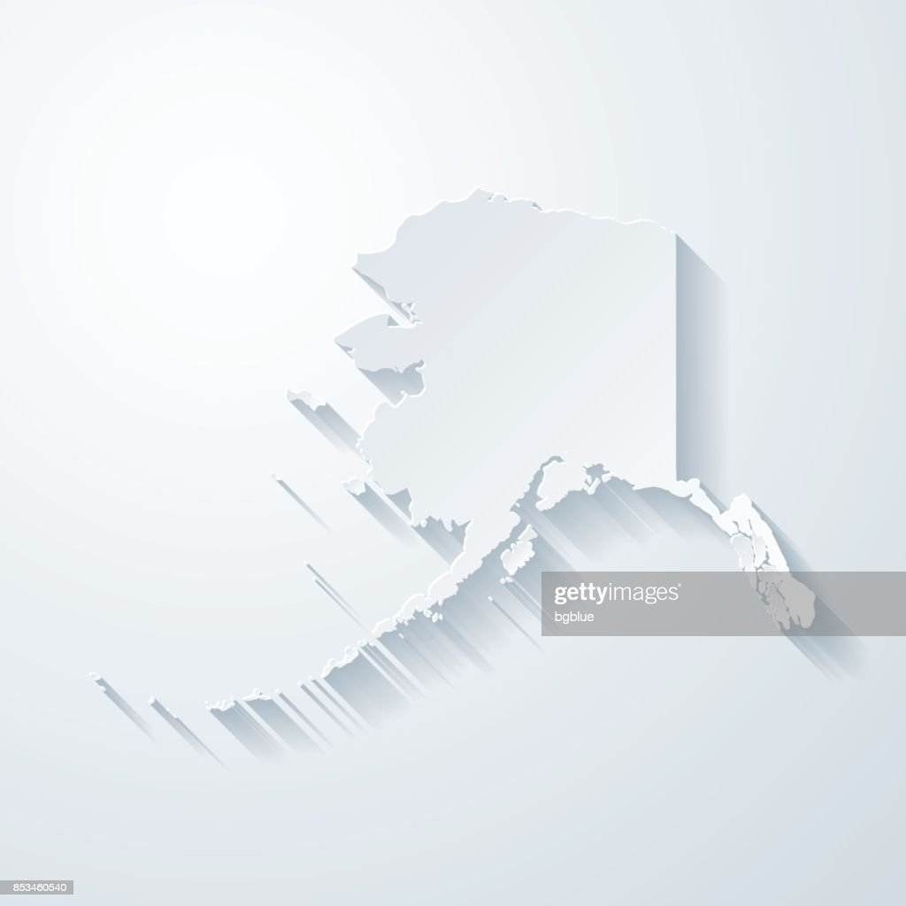 Blank Alaska Map.Alaska Map With Paper Cut Effect On Blank Background Vector Art