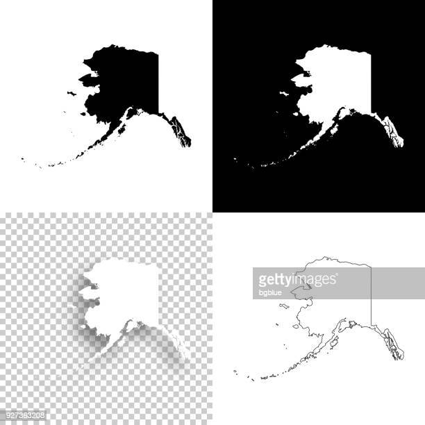 alaska maps for design - blank, white and black backgrounds - alaska us state stock illustrations