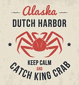 Alaska t-shirt design, print, typography, label with king crab