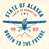 Alaska t-shirt design, print, typography, label with old airplane