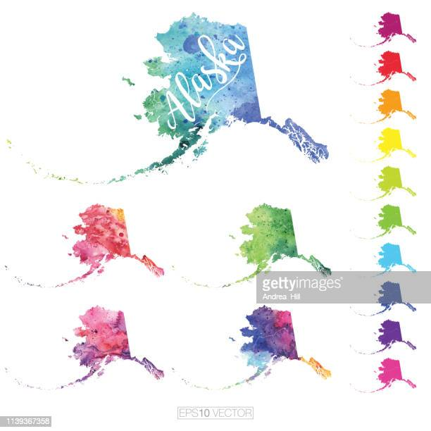 alaska us state multicolored watercolor vector map set - alaska us state stock illustrations