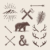 Alaska vintage set. Bear, axes, mountains, deer antlers