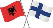 Albania and Finnish flags. Vector illustration.