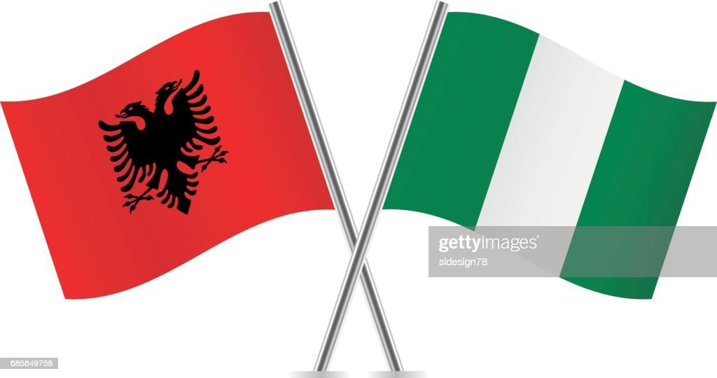 Albania and Nigeria flags. Vector illustration.