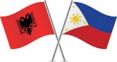 Albania and Philippine flags. Vector illustration.