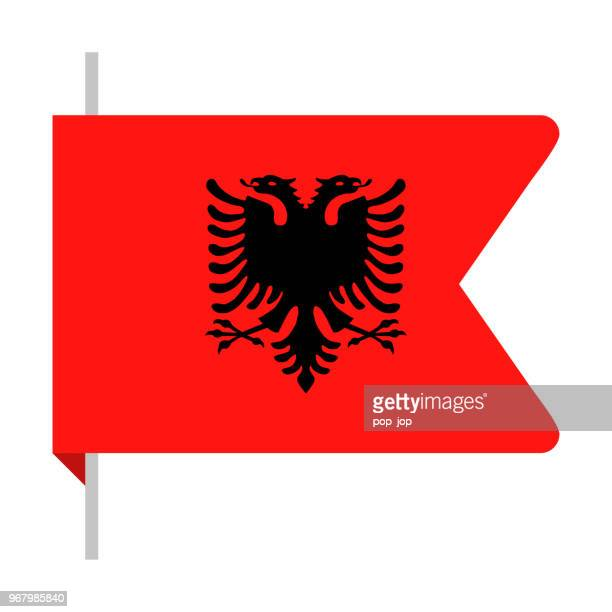 albania - bookmark flag vector flat icon - balkans stock illustrations, clip art, cartoons, & icons