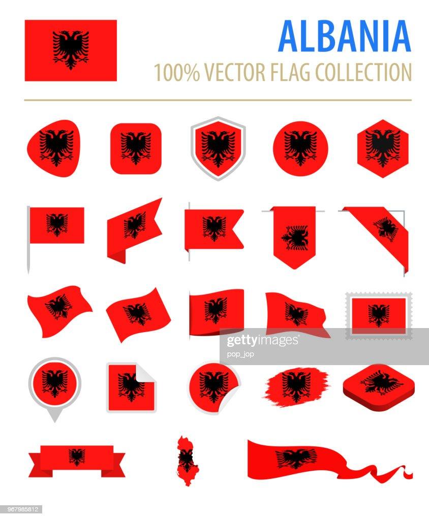 Albania Flag Icon Flat Vector Set stock illustration - Getty Images