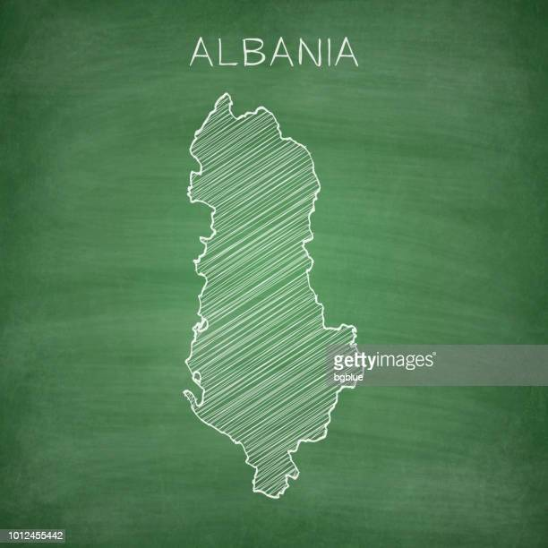 albania map drawn on chalkboard - blackboard - tirana stock illustrations, clip art, cartoons, & icons