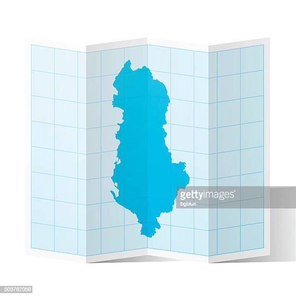 albania map folded, isolated on white background - tirana stock illustrations, clip art, cartoons, & icons