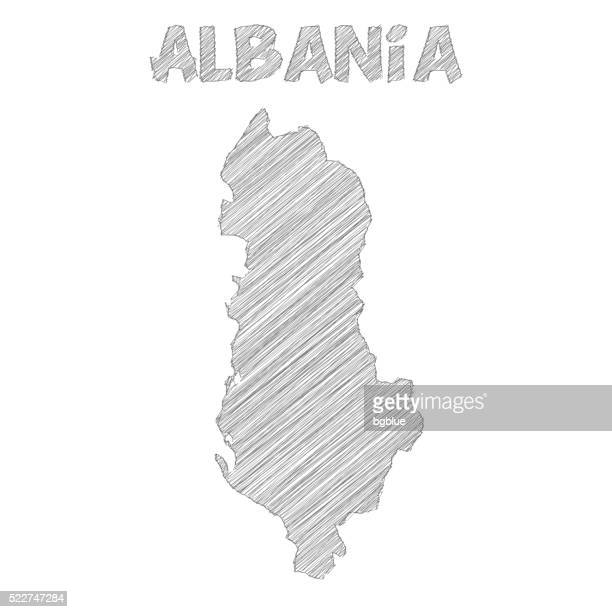 albania map hand drawn on white background - tirana stock illustrations, clip art, cartoons, & icons