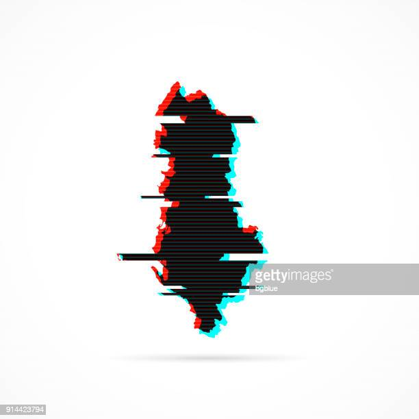 albania map in distorted glitch style. modern trendy effect - tirana stock illustrations, clip art, cartoons, & icons