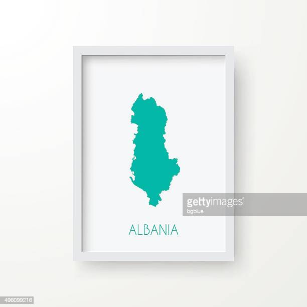 albania map in frame on white background - tirana stock illustrations, clip art, cartoons, & icons