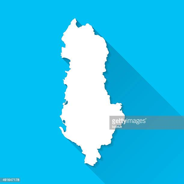 Albania Map on Blue Background, Long Shadow, Flat Design