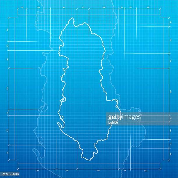 albania map on blueprint background - tirana stock illustrations, clip art, cartoons, & icons