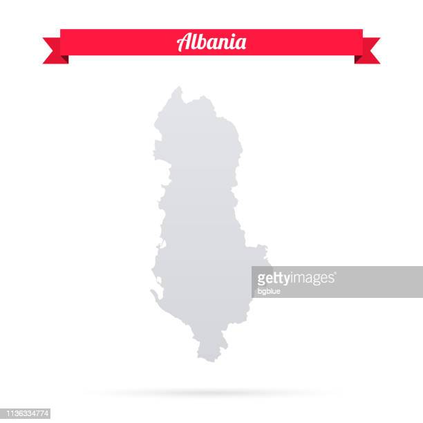 albania map on white background with red banner - tirana stock illustrations, clip art, cartoons, & icons