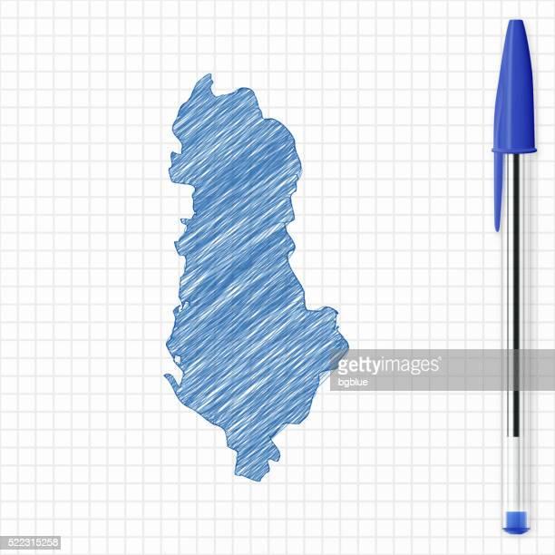albania map sketch on grid paper, blue pen - tirana stock illustrations, clip art, cartoons, & icons