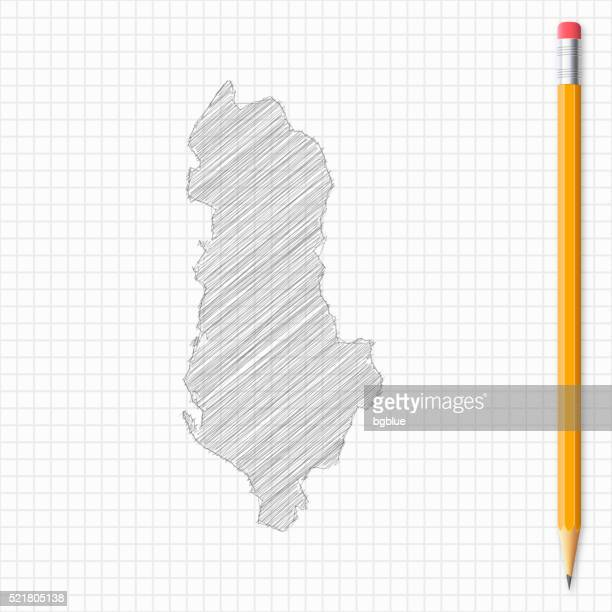 albania map sketch with pencil on grid paper - tirana stock illustrations, clip art, cartoons, & icons