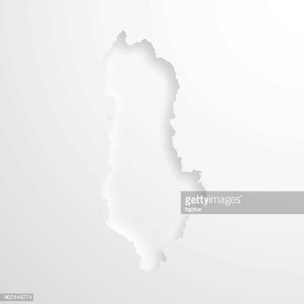 Albania map with embossed paper effect on blank background