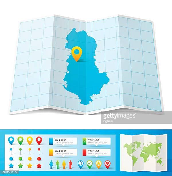 Albania mappa con perni di posizione, isolato su sfondo bianco
