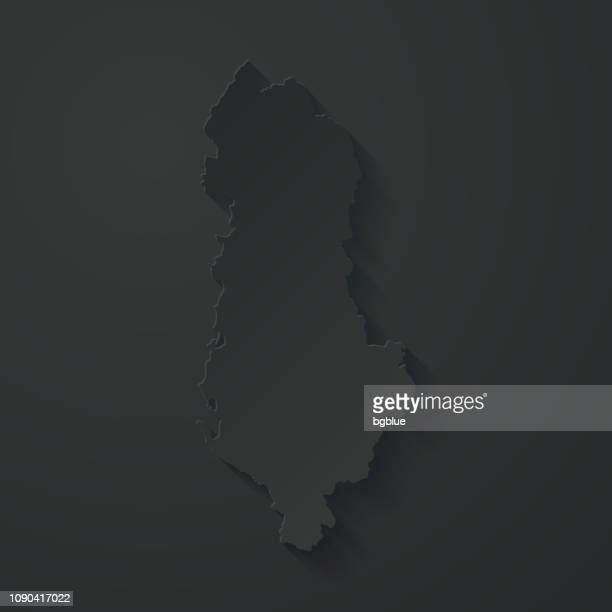 Albania map with paper cut effect on black background