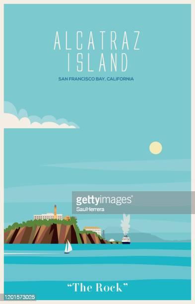 alcatraz island in the bay of san francisco - prisoner vector stock illustrations