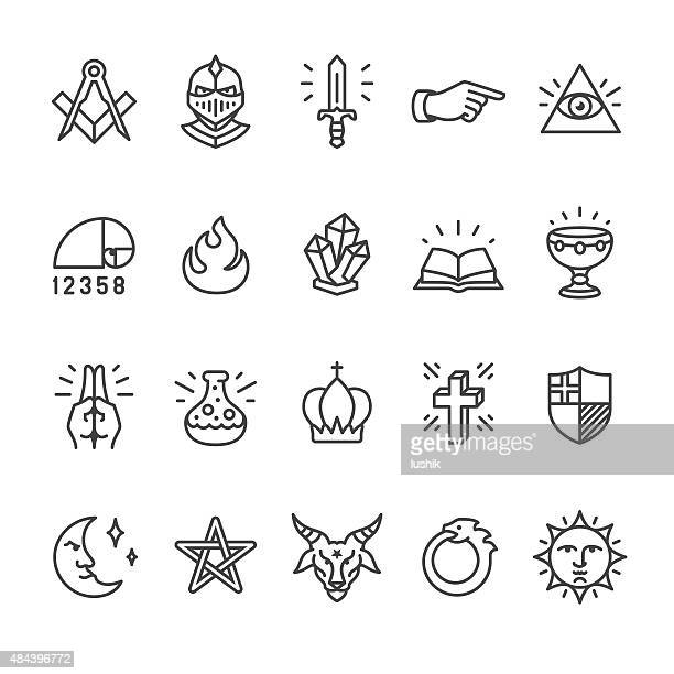alchemy and mystery cult related vector icons - spirituality stock illustrations, clip art, cartoons, & icons